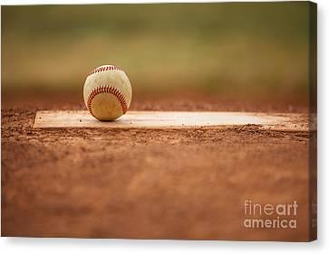 Baseball On The Pitchers Mound Canvas Print