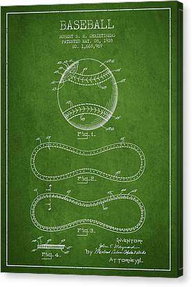 Baseball Bat Canvas Print - Baseball Patent Drawing From 1928 by Aged Pixel
