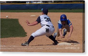 Baseball Pick Off Attempt Canvas Print by Thomas Woolworth