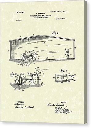 Baseball Pitcher 1902 Patent Art Canvas Print by Prior Art Design
