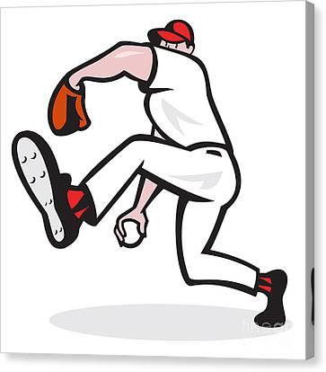 Baseball Pitcher Throwing Ball Cartoon Canvas Print by Aloysius Patrimonio