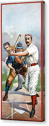 Baseball Player At Bat Canvas Print by Unknown