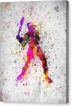 Baseball Player - Holding Baseball Bat Canvas Print by Aged Pixel