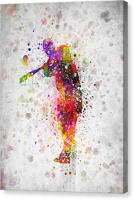 Baseball Player - Taking A Swing Canvas Print by Aged Pixel