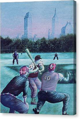 New York Central Park Baseball - Watercolor Art Canvas Print by Art America Online Gallery