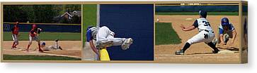 Baseball Playing Hard 3 Panel Composite 02 Canvas Print by Thomas Woolworth