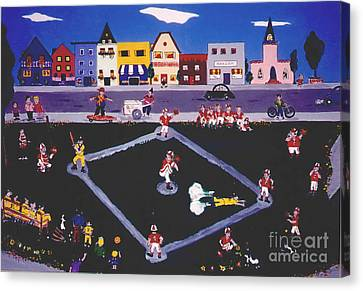 Canvas Print featuring the painting Baseball Practice by Joyce Gebauer