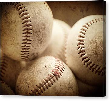 Baseball Sports Art Pile Of Well Worn Baseballs  Canvas Print by Lisa Russo