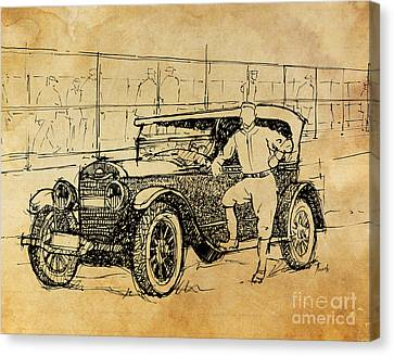 Baseball Star On A New Ford Canvas Print by Pablo Franchi