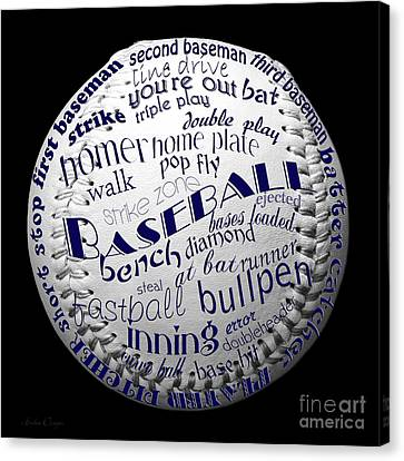 Baseball Terms Typography 2 Canvas Print by Andee Design