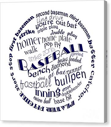 Batter Canvas Print - Baseball Terms Typography Blue On White by Andee Design