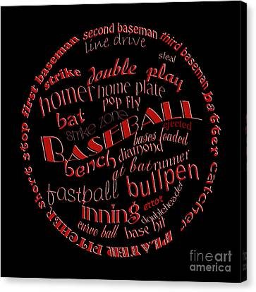 Baseball Terms Typography Red On Black Canvas Print by Andee Design
