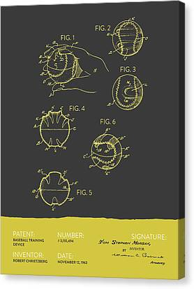 Baseball Training Device Patent From 1963 - Gray Yellow Canvas Print by Aged Pixel