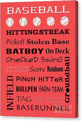 Baseball Typography Canvas Print by Terry Weaver