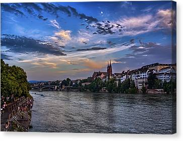 Switzerland Canvas Print - Basel Bathed In Moonlight by Carol Japp
