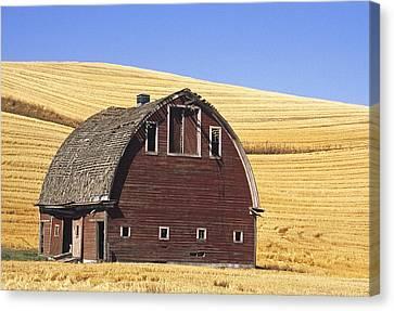 Contour Farming Canvas Print - Basic Palouse Barn by Latah Trail Foundation