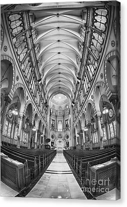 Basilica Of Saint Louis Black And White Canvas Print by Jerry Fornarotto