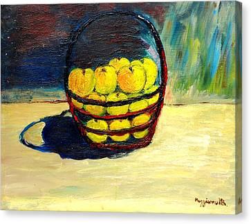 Basket Of Aplles Canvas Print