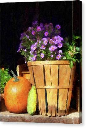 Basket Of Asters With Pumpkin And Gourd Canvas Print by Susan Savad