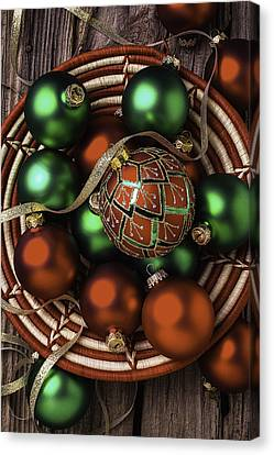 Basket Of Christmas Ornaments Canvas Print by Garry Gay