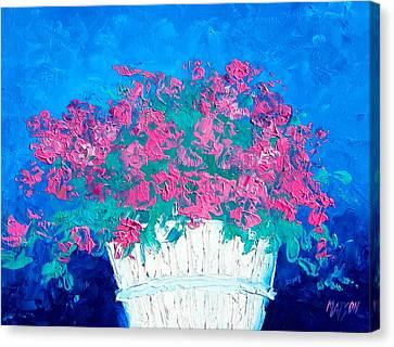 Basket Of Flowers Canvas Print by Jan Matson
