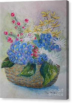 Basket Of Flowers Canvas Print by Terri Maddin-Miller
