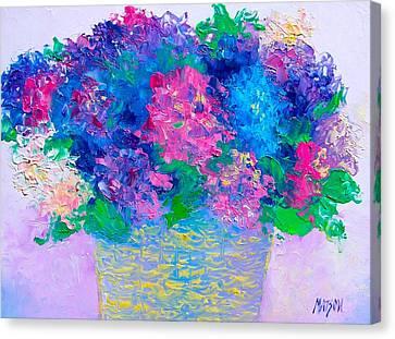 Basket Of Hydrangeas Canvas Print by Jan Matson