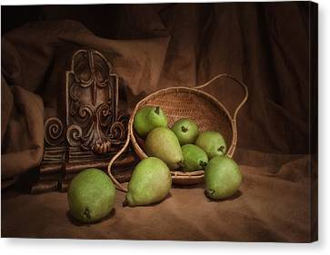 Fabric Canvas Print - Basket Of Pears Still Life by Tom Mc Nemar