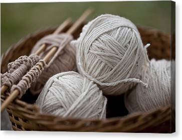 Basket Of Yarn Canvas Print by Wilma  Birdwell