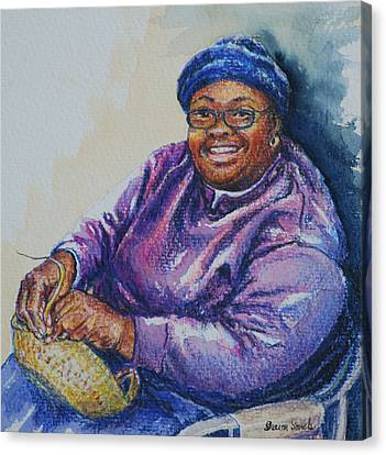 Basket Weaver In Blue Hat Canvas Print