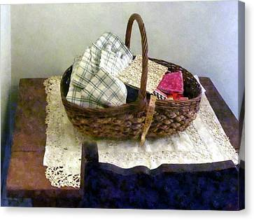 Basket With Cloth And Measuring Tape Canvas Print