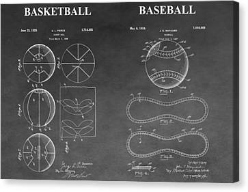 Basketball And Baseball Patent Drawing Canvas Print