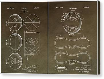 Basketball Baseball Patent 2 Canvas Print by Dan Sproul