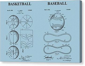 Basketball Baseball Patent Blue Canvas Print by Dan Sproul