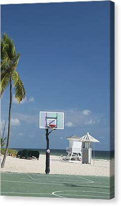 Canvas Print featuring the photograph Basketball Goal On The Beach by Bob Pardue