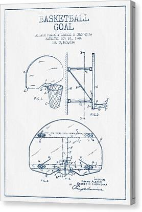 Nba Drawings Canvas Print - Basketball Goal Patent From 1944 - Blue Ink by Aged Pixel