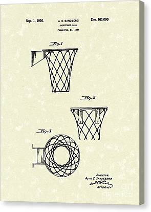Hoops Canvas Print - Basketball Hoop 1936 Patent Art by Prior Art Design