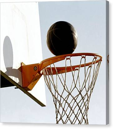 Basketball Hoop And Ball Canvas Print by Lanjee Chee