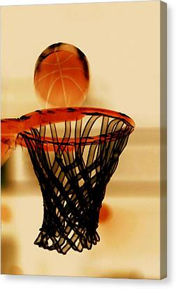 Basketball Hoop And Basketball Ball 1 Canvas Print by Lanjee Chee