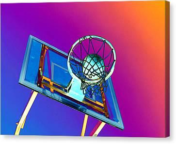 Basketball Hoop And Basketball Ball Canvas Print by Lanjee Chee