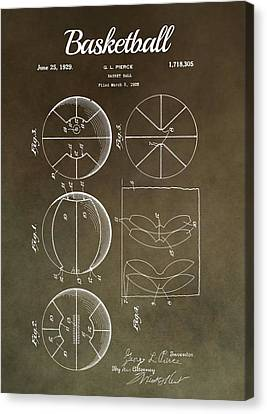 Basketball Patent Antique Brown Canvas Print by Dan Sproul