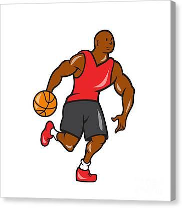 Basketball Player Dribbling Ball Cartoon Canvas Print