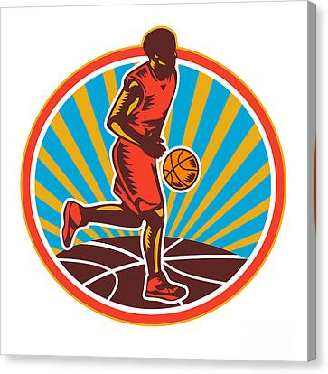 Basketball Player Dribbling Ball Woodcut Retro Canvas Print by Aloysius Patrimonio