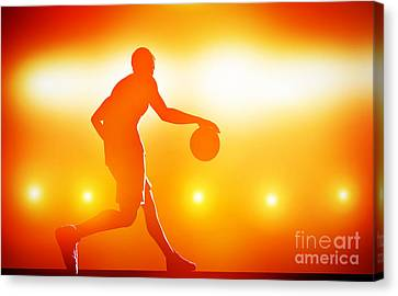 Basketball Player Dribbling With Ball Canvas Print