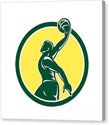 Basketball Player Dunk Ball Circle Retro Canvas Print by Aloysius Patrimonio
