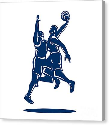 Basketball Player Dunk Block Retro Canvas Print by Aloysius Patrimonio