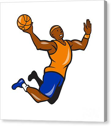 Basketball Player Dunking Ball Cartoon Canvas Print by Aloysius Patrimonio