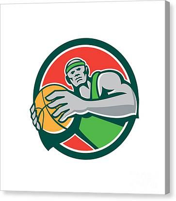 Basketball Player Holding Ball Circle Retro Canvas Print by Aloysius Patrimonio