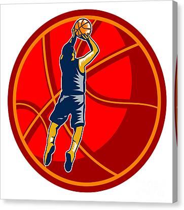 Basketball Player Jump Shot Ball Woodcut Retro Canvas Print by Aloysius Patrimonio