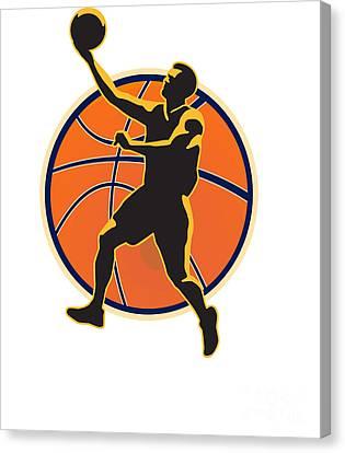 Basketball Player Lay Up Ball Canvas Print by Aloysius Patrimonio